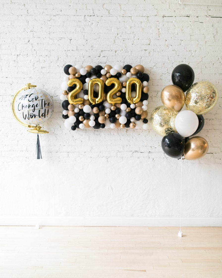Black, White and Gold Palette 2020 Backdrop, Confetti Bouquet and Go Change the World Set