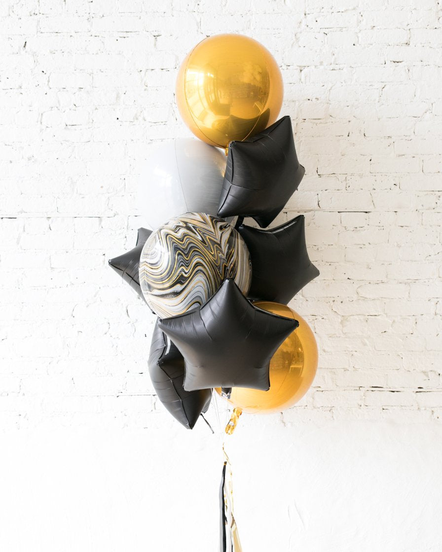 GIFT-Black, White and Gold Palette Orbs and Stars Foil Bouquet