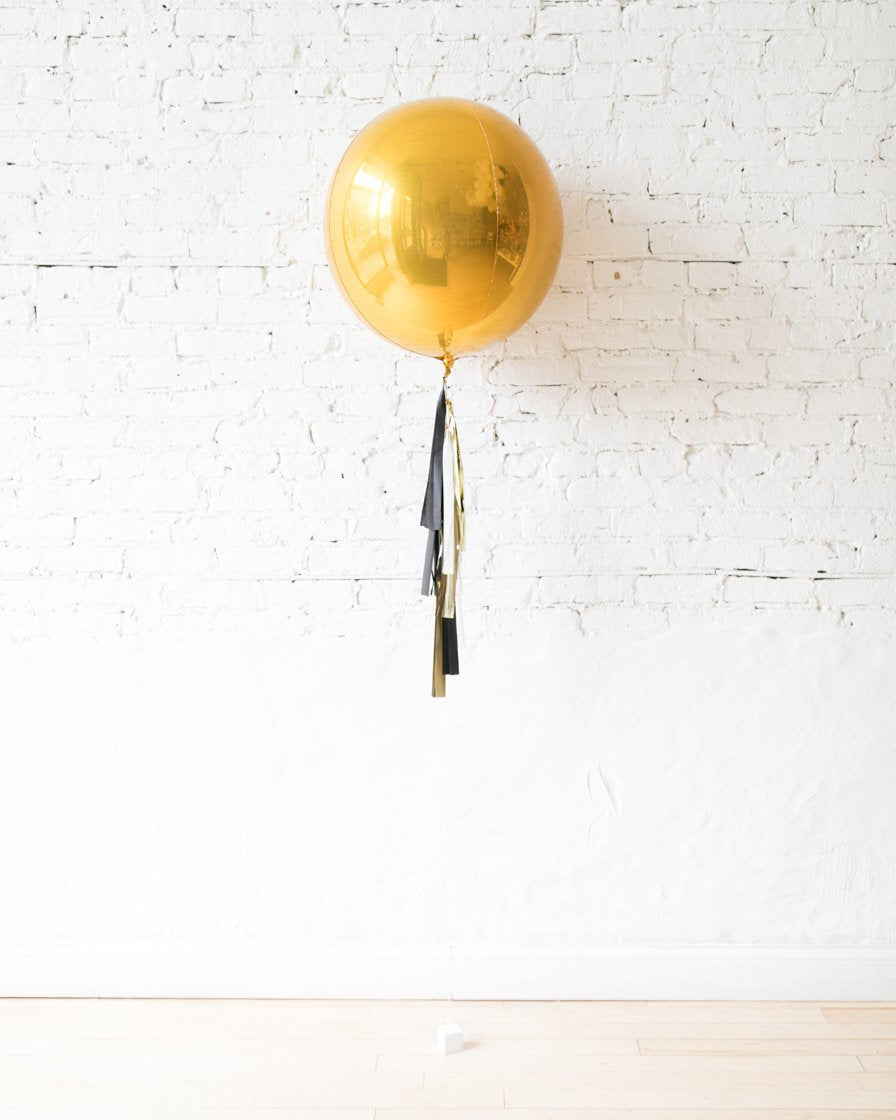 GIFT-21in Gold Orb and Black, White and Gold Half-Tassel