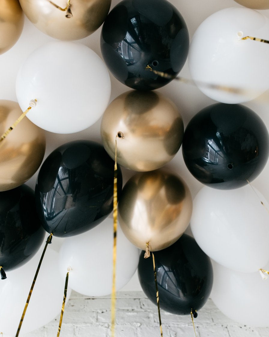 Black, White and Gold Palette 11in Ceiling Balloons - set of 25