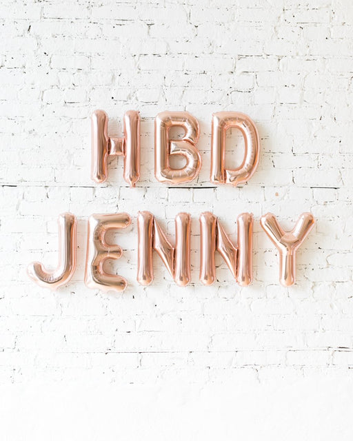 Customizable 16in Rose Gold HBD Foil Balloon Set