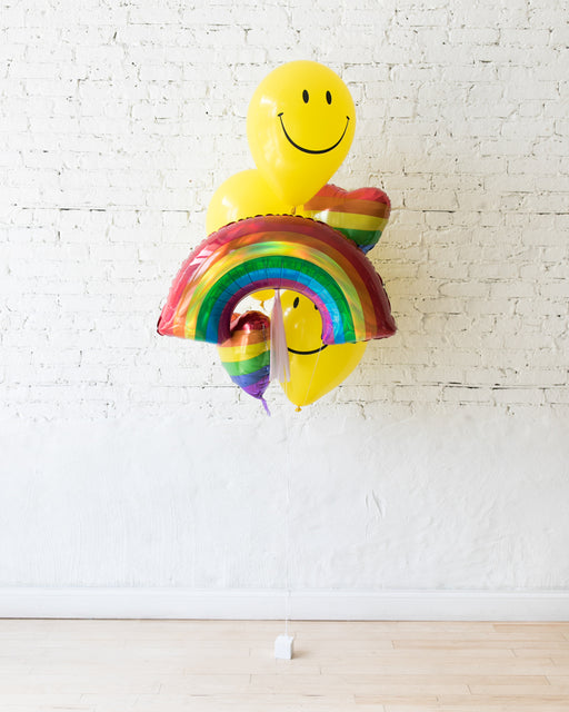 GIFT-Happy Face and Rainbow Balloon Bouquet