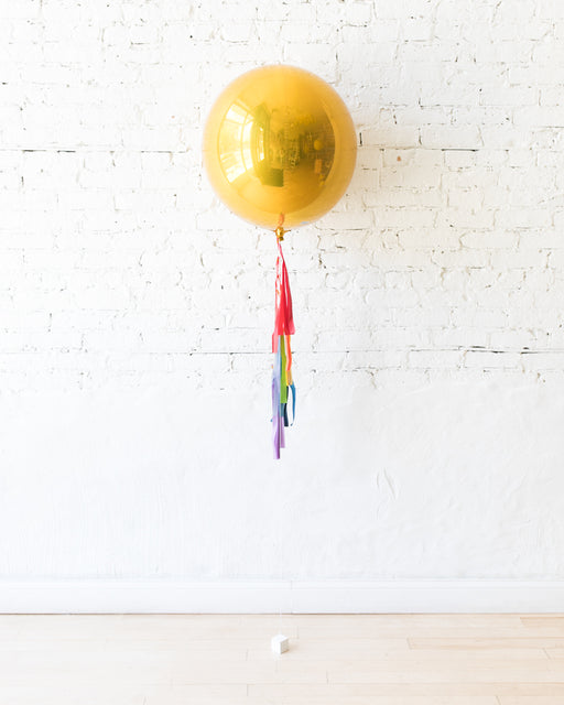 GIFT-21in Gold Orb and Rainbow Half-Tassel