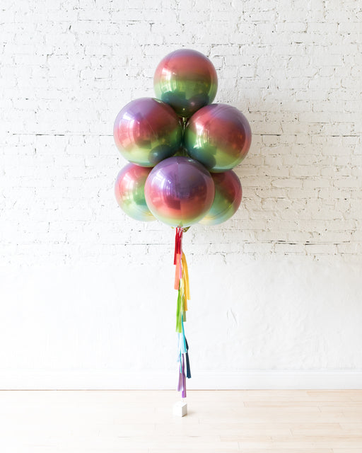 GIFT-Rainbow Ombre All Orbs Balloons - bouquet of 7