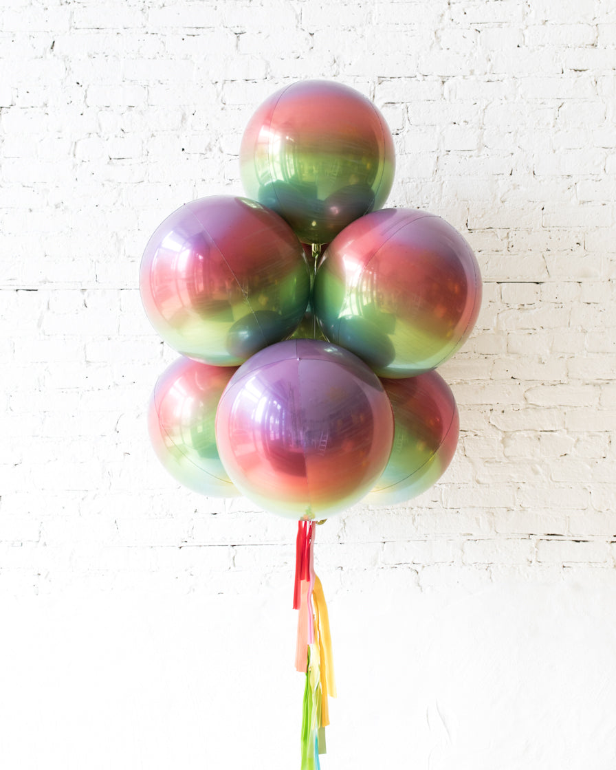 Rainbow Ombre All Orbs Balloons - bouquet of 7