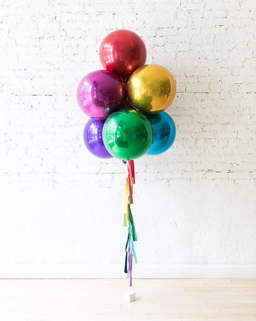 Rainbow Palette Orb Balloons and Tassel - bouquet of 7