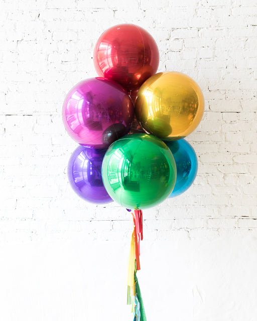 GIFT-Mulitcolor Palette Orb Balloons and Tassel - bouquet of 7
