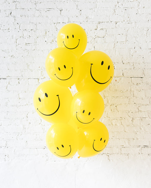 GIFT-Happy Face 11in and 16in Balloons - bouquet of 10