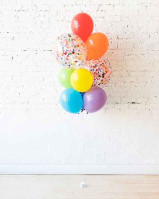 Rainbow Palette Confetti and 11in Balloons - bouquet of 10