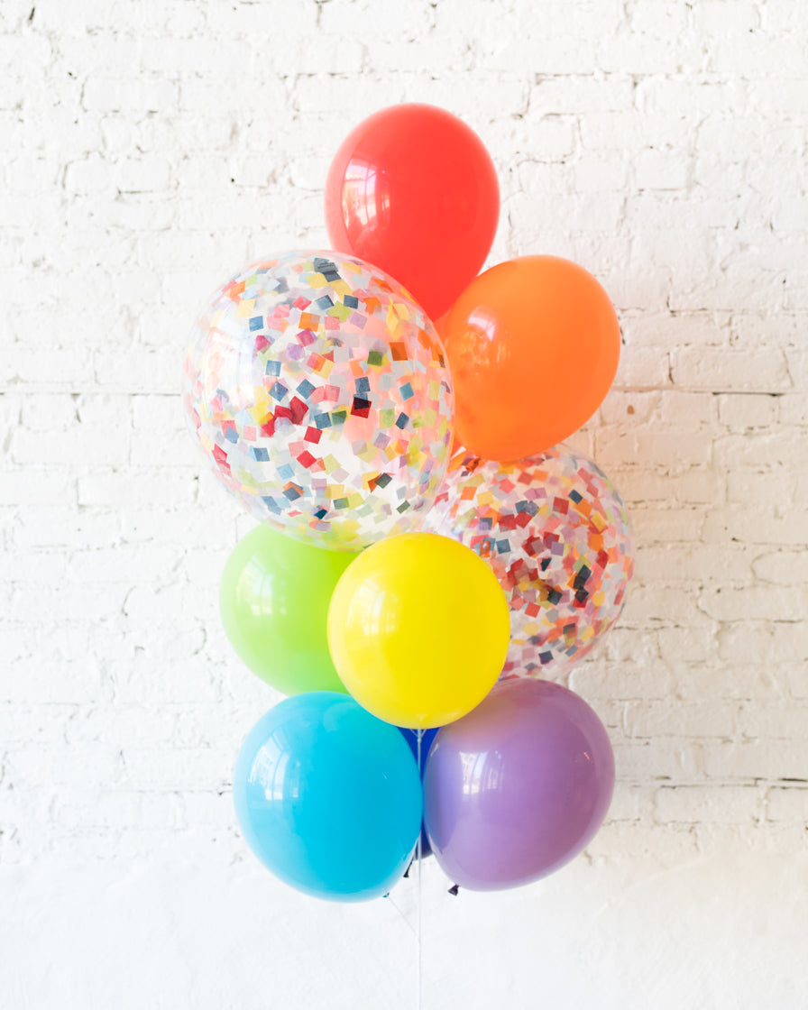 GIFT- Rainbow Palette Confetti and 11in Balloons - bouquet of 10