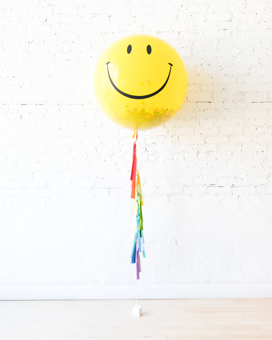 GIFT-Giant Happy Face Popping Mini and Confetti Balloon and Rainbow Tassel