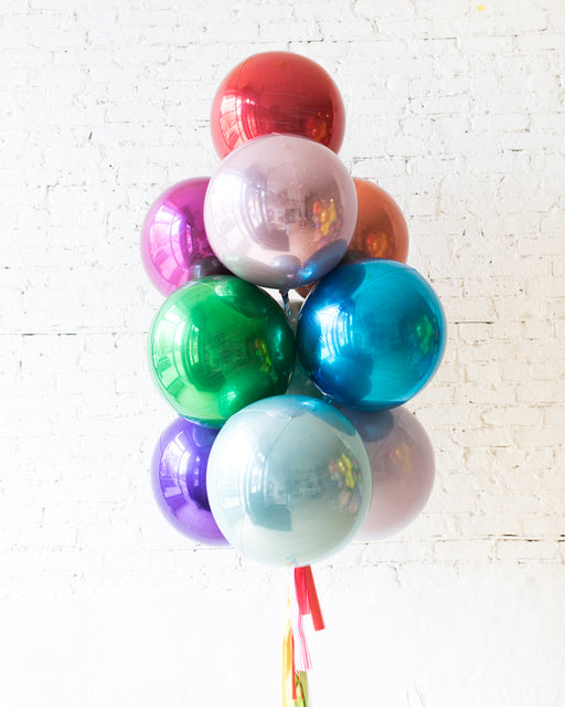 GIFT-Mulitcolor Palette Orb Balloon and Tassel - bouquet of 10