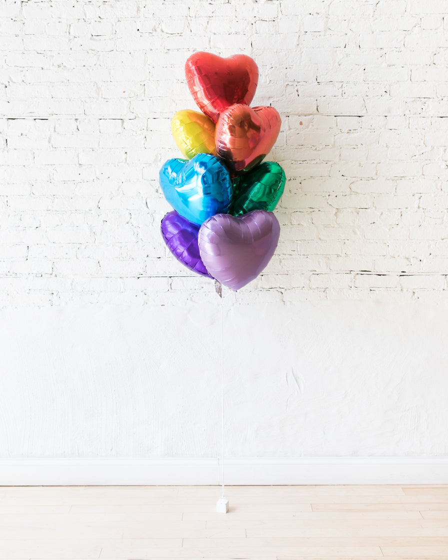 Rainbow Palette Heart Balloons - bouquet of 7