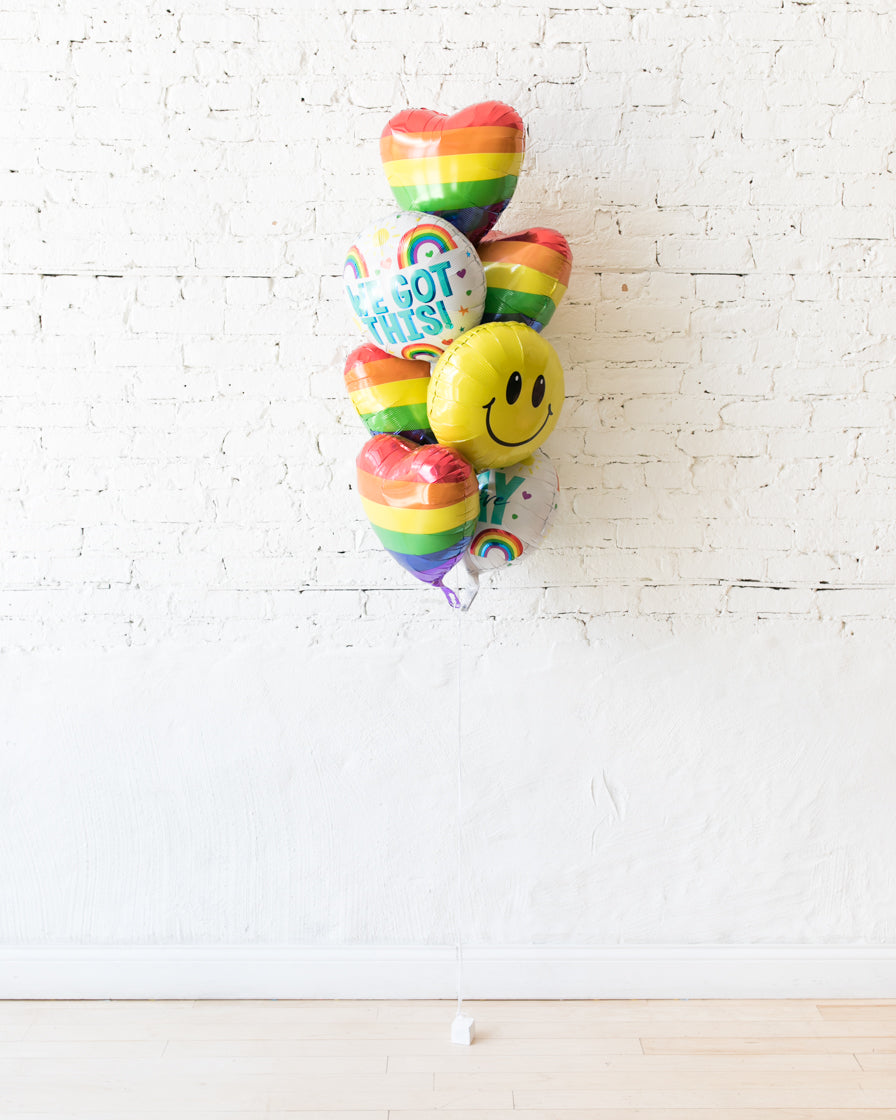 GIFT-Rainbow Heart Balloon Bouquet