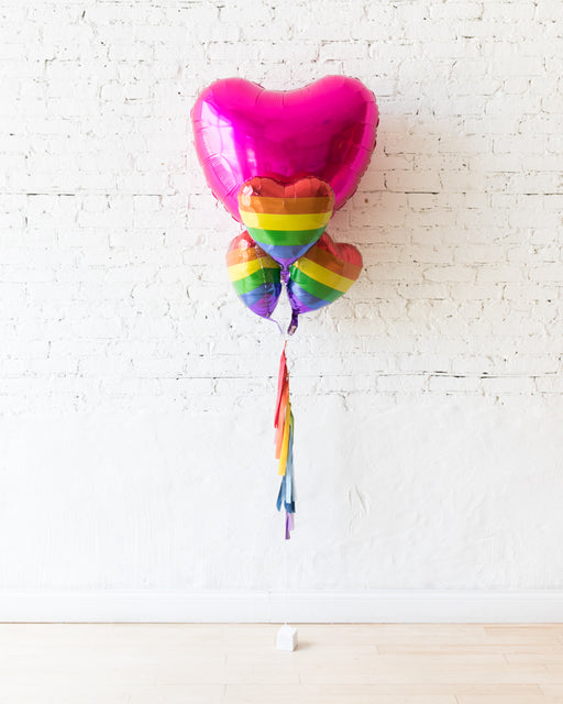 GIFT-Giant Magenta Heart and Rainbow Tassel