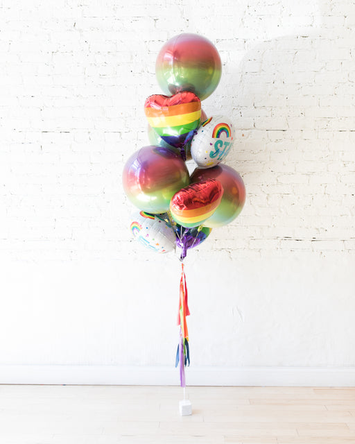 GIFT-Rainbow Heart and Orb Stay Positive Balloon Bouquet