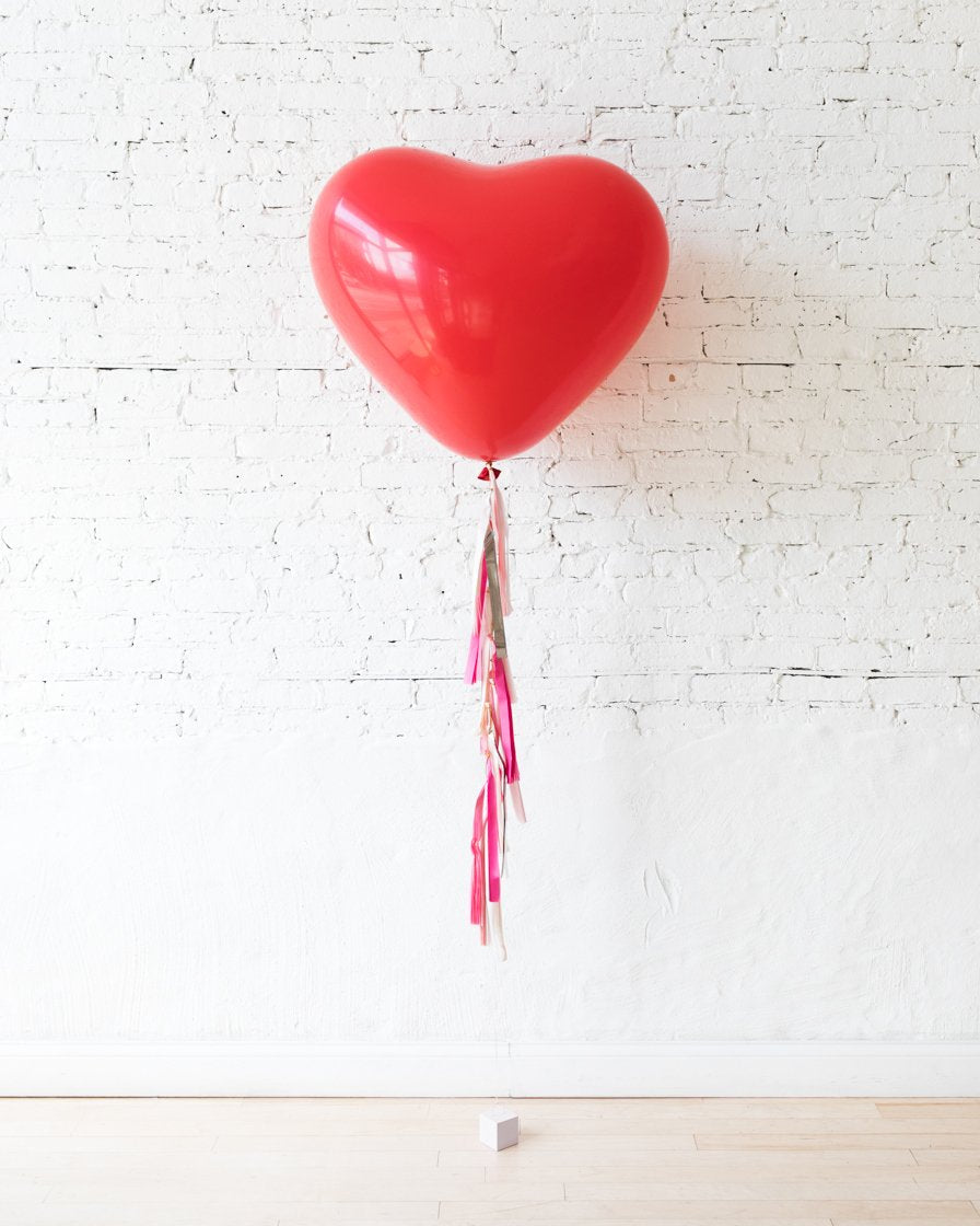 Red Giant Heart Balloon and Shades of Pink Palette Tassel