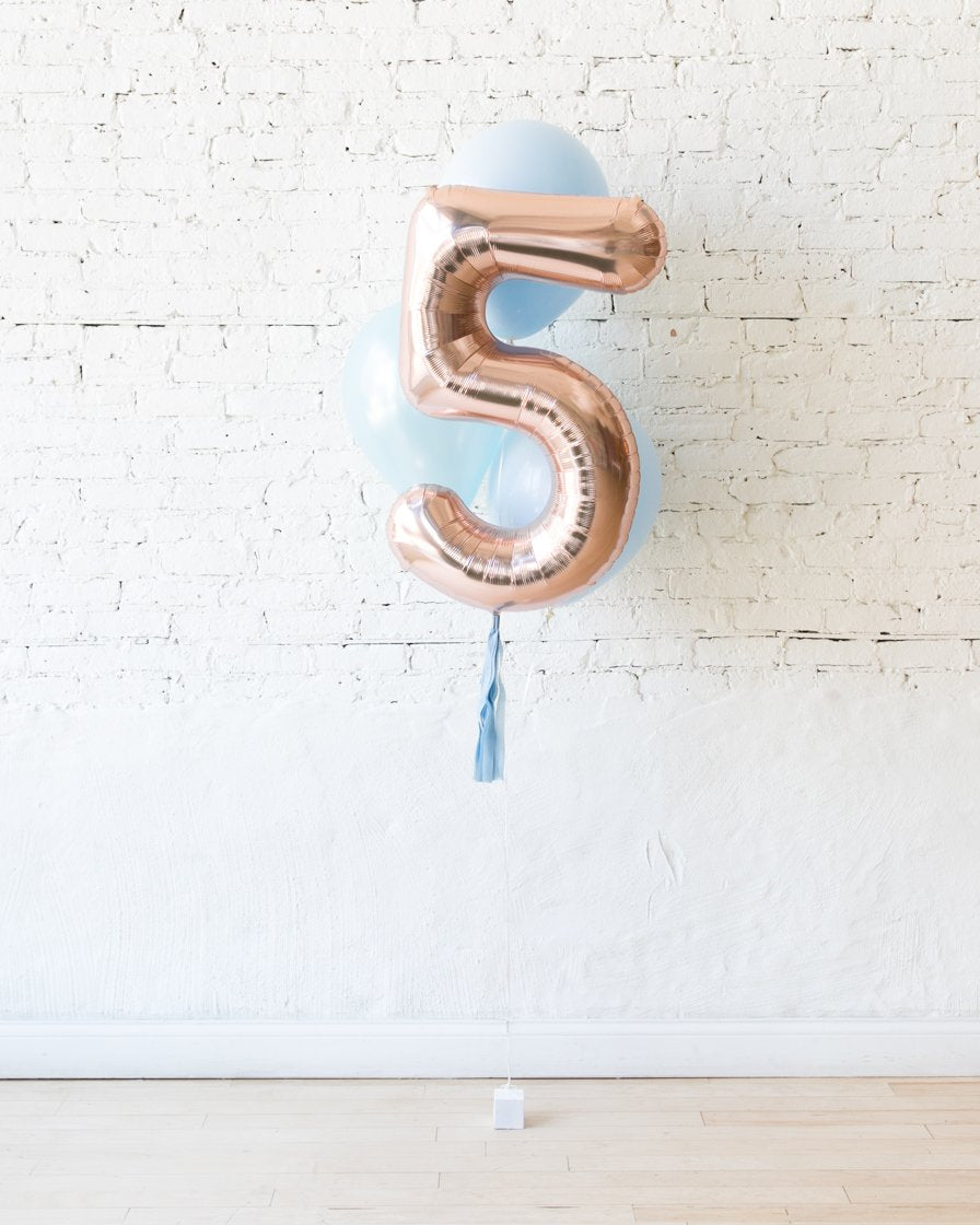 GIFT-Pastel Blue and Rose Gold Palette Foil Number and Latex Balloon Bouquet