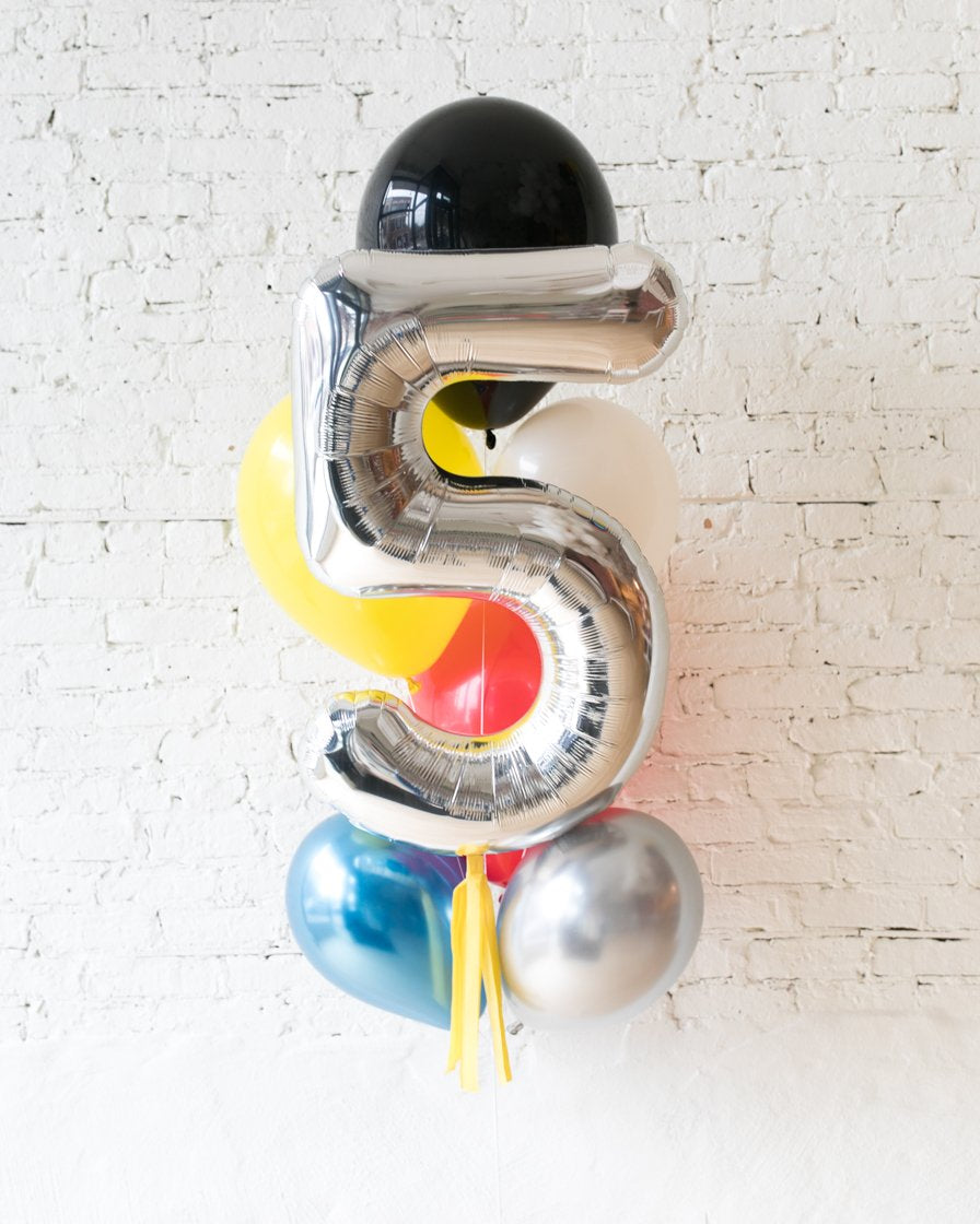 GIFT-Hero Palette Foil Number and Latex Balloon Bouquet