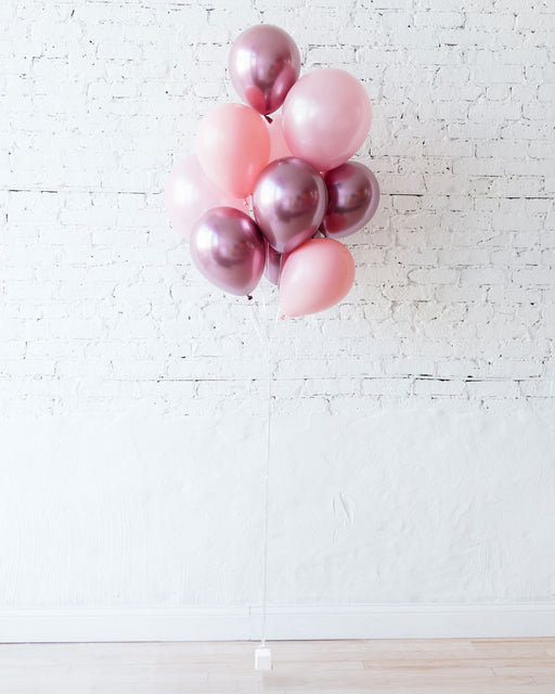 Shades of Pink 11in balloons - bouquet of 10