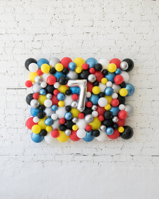 Superhero Theme - Customizable Number Balloon Backdrop Board - 30inx40in