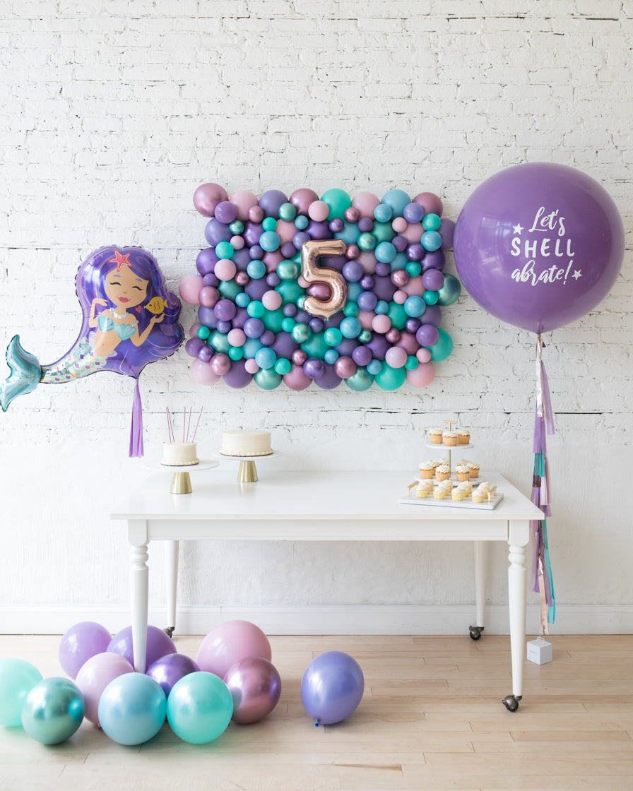 Mermaid Theme Balloon Backdrop & Balloons Set