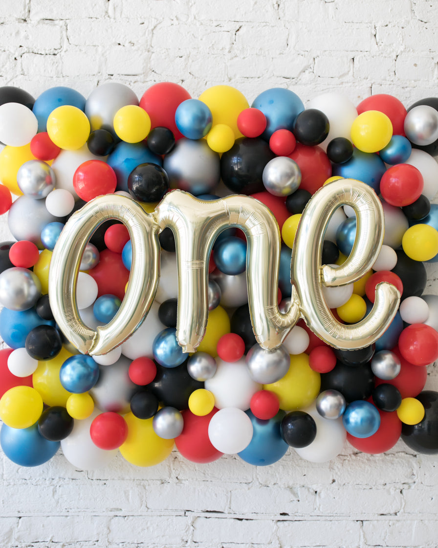 Superhero Theme One Script Balloon Backdrop Board - small
