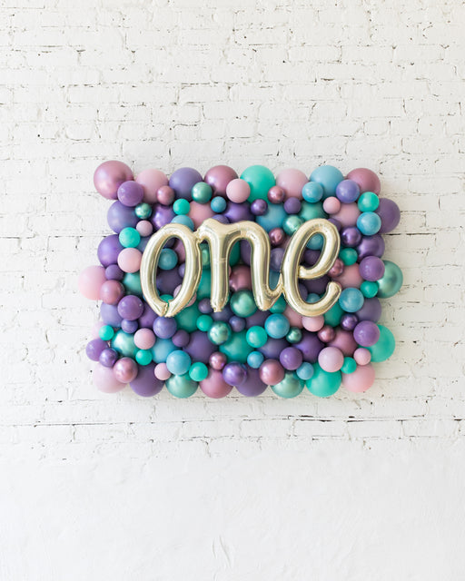 Mermaid Theme One Script Balloon Backdrop Board - small