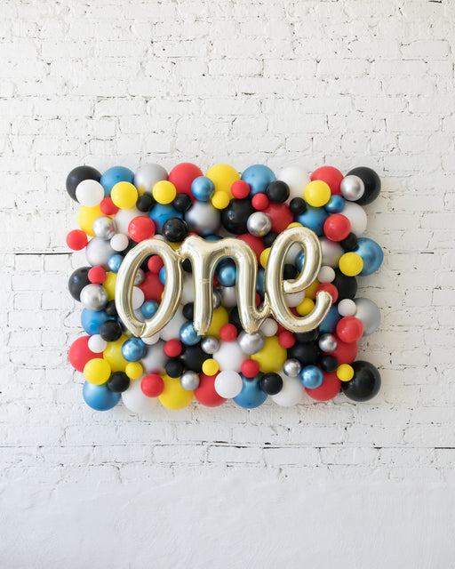 Superhero Theme - ONE Script Balloon Backdrop Board - 30inx40in