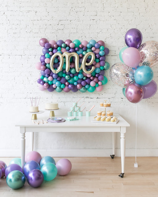 Mermaid Theme Balloon Backdrop & Confetti Bouquet Set