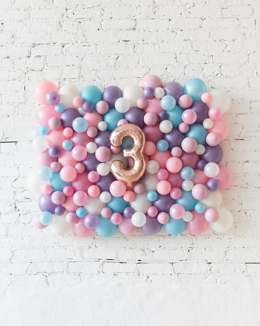 Unicorn Theme - Customizable Number Balloon Backdrop Board - 30inx40in