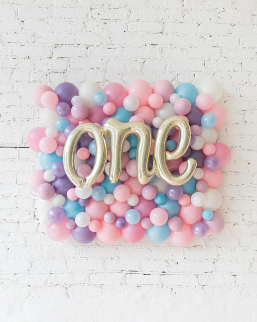 Unicorn Theme - ONE Script Balloon Backdrop Board - 30inx40in
