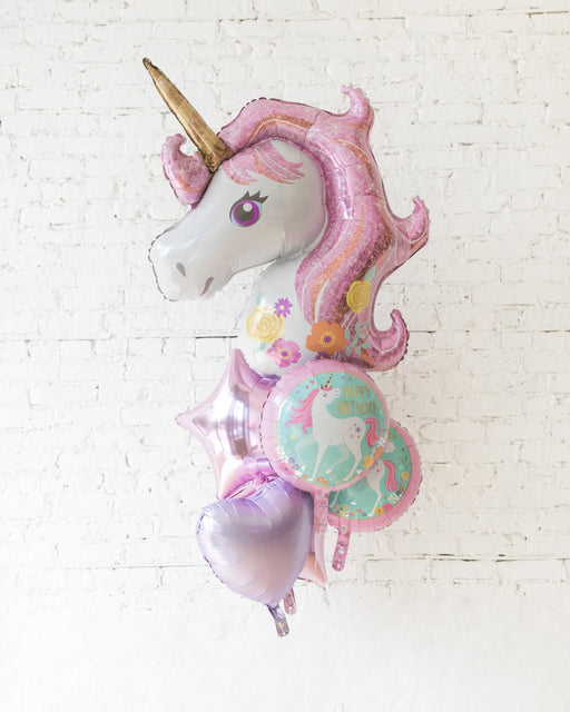 Unicorn Theme All Foil Balloons - bouquet of 7