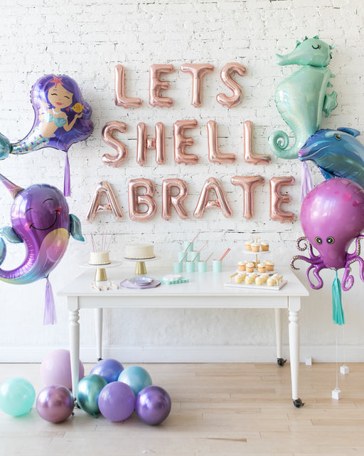 Mermaid Theme Letters & Foil Balloons Set