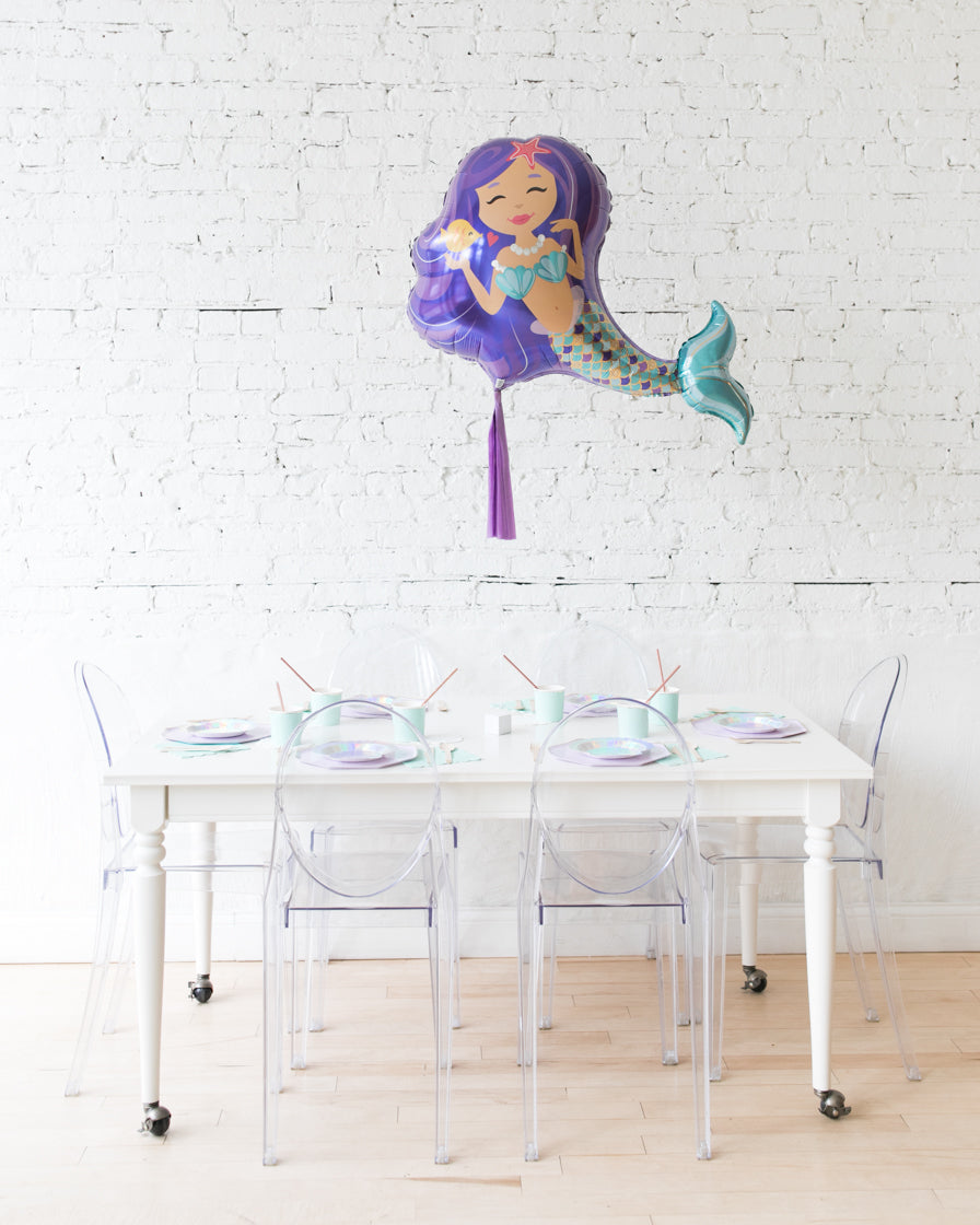 38in Mermaid Foil Balloon and Lavender Skirt Centerpiece
