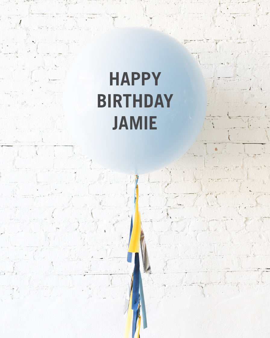 Mid Century Hues - Personalized Happy Birthday Balloon and Tassel
