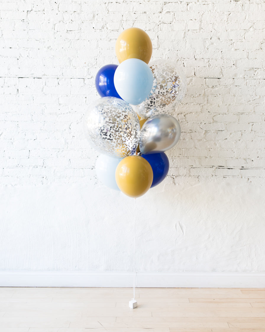 Mid Century Hues - Confetti and 11in Balloons - bouquet of 10