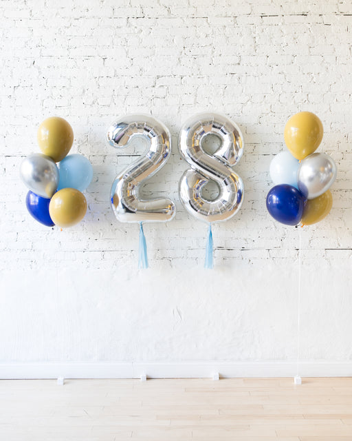 Mid Century Hues - Foil Numbers & 11in Balloon Bouquets Set