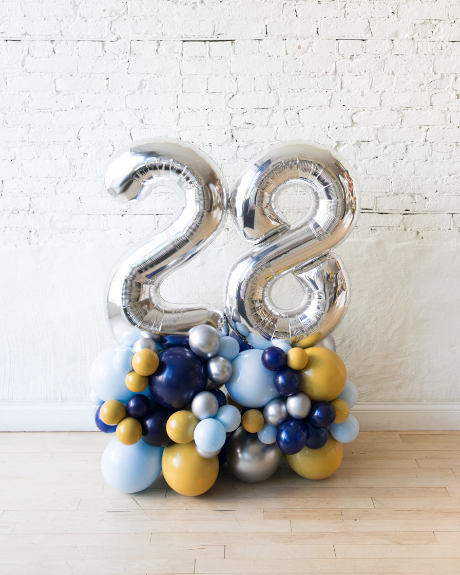 Mid Century Hues - Foil Numbers on Balloon Pedestal - 3ft