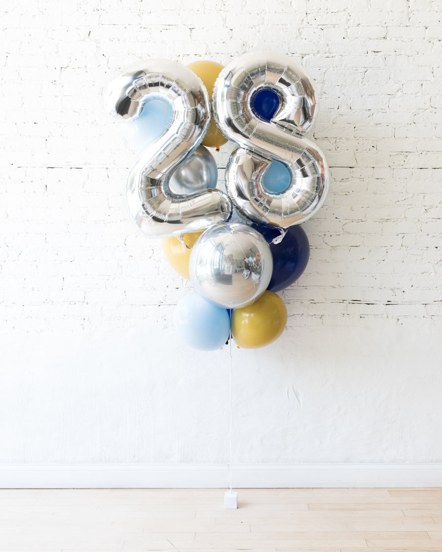 Mid Century Hues - Foil Number and latex Balloons - 13 balloons