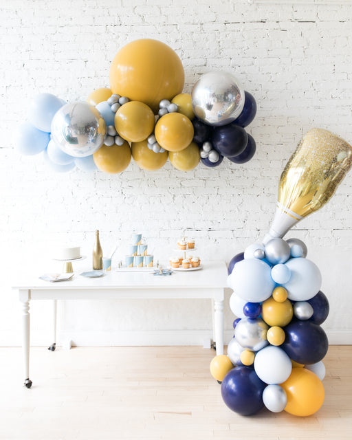 Mid Century Hues - Floating Balloon Arch & Champagne Column Set