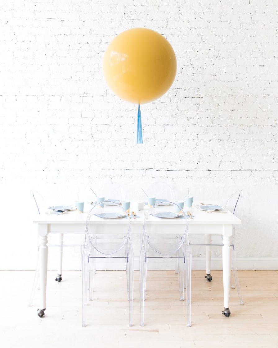 Moutarde Giant Balloon and French Blue Skirt Centerpiece