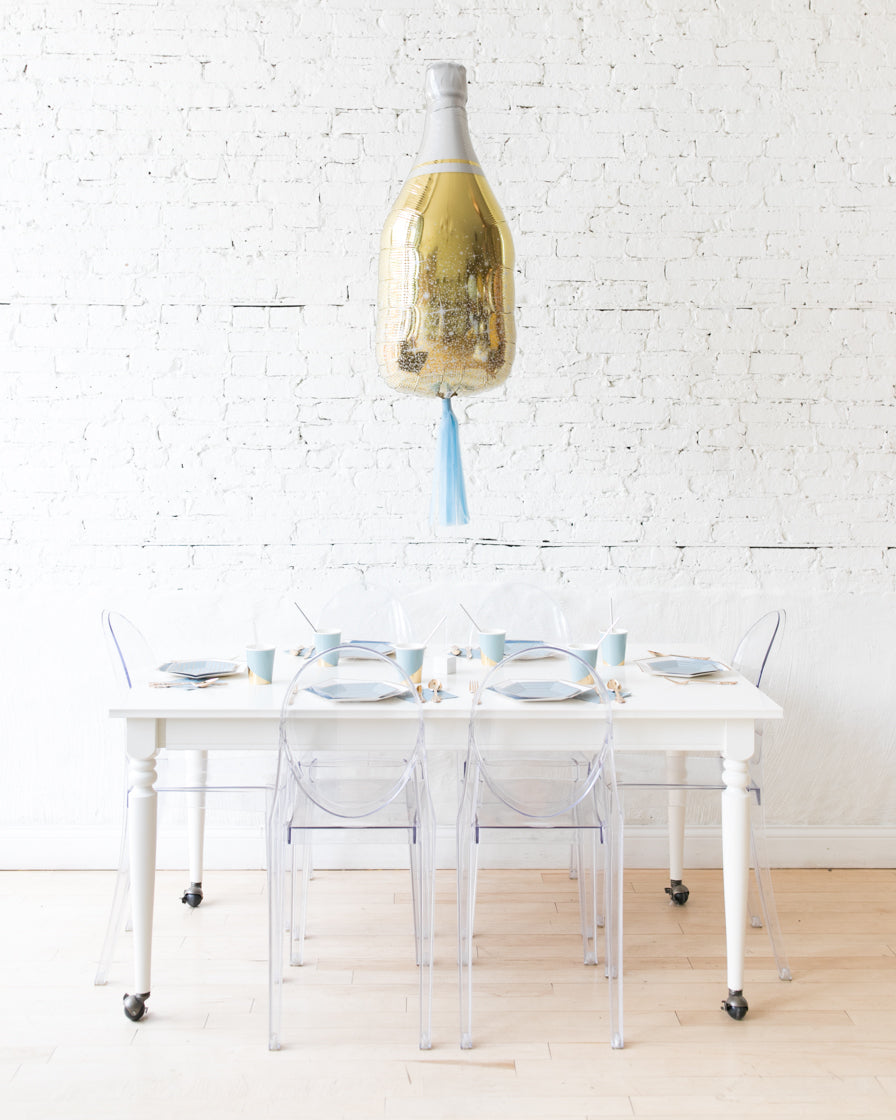 36in Gold Champagne Bottle Foil Balloon and French Blue Skirt Centerpiece