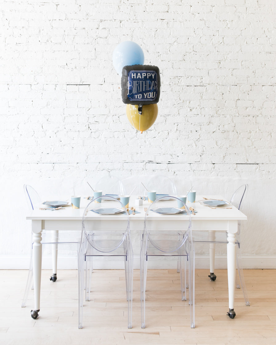 Mid Century Hues - Happy Birthday Foil and 11in Balloons Centerpiece - bouquet of 3