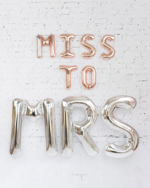 Rose Gold and Silver MISS TO MRS Foil Balloon Set