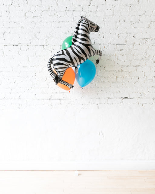 Party Animal Theme - Zebra Foil and 11in Balloons - bouquet of 4