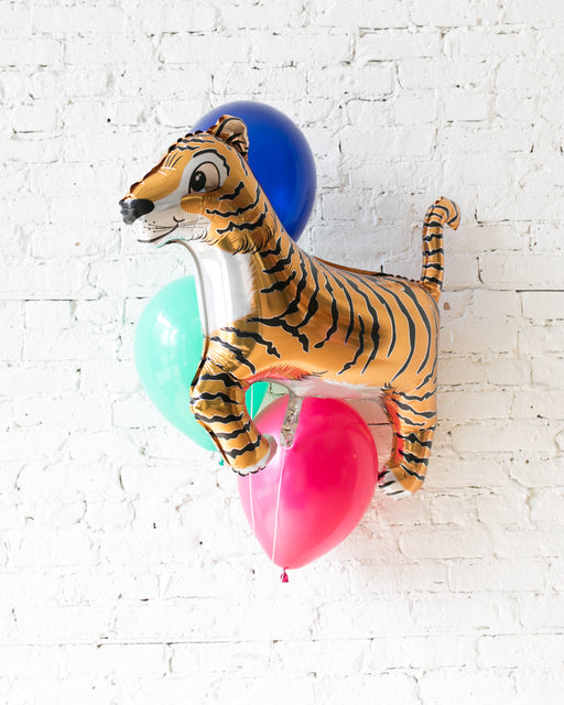 Party Animal Theme - Tiger Foil and 11in Balloons - bouquet of 4