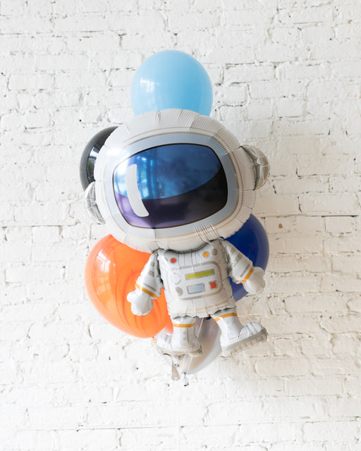 Space Theme Astronaut Foil and 11in Balloons - bouquet of 7