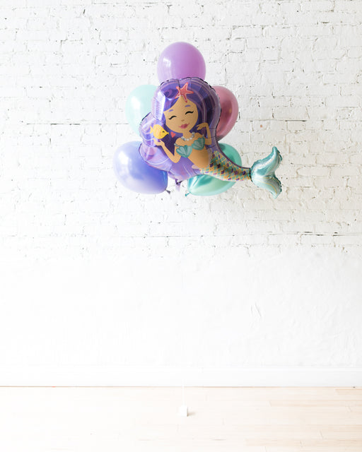 Mermaid Theme Mermaid Foil and 11in Balloons - bouquet of 7