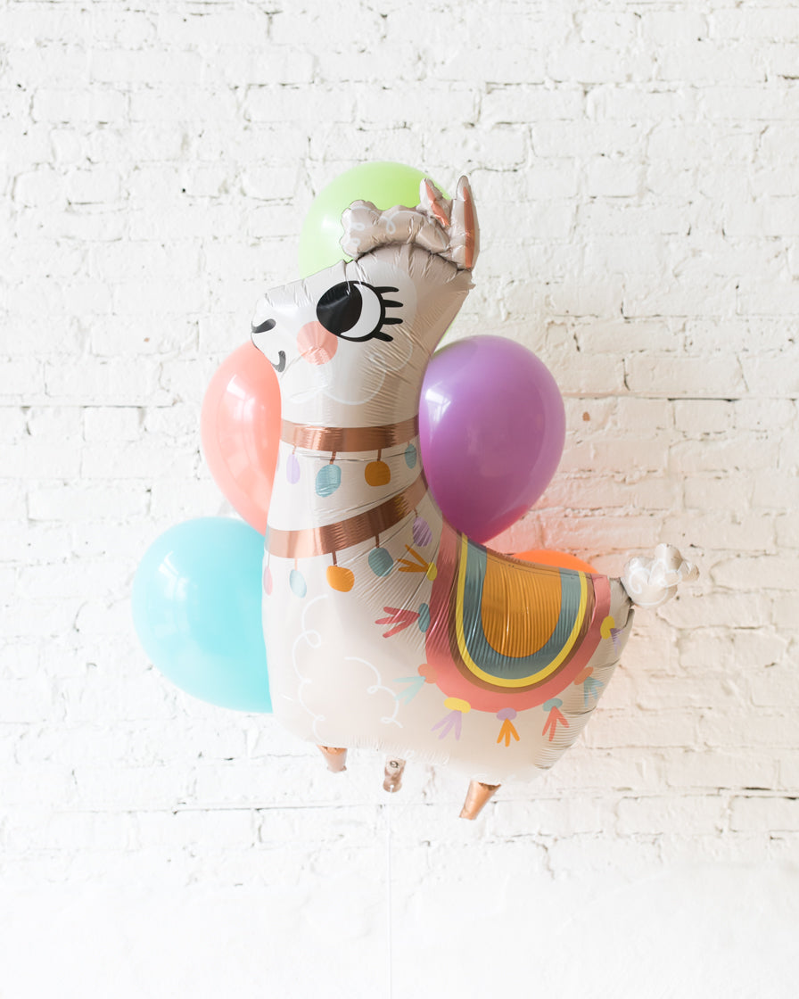 Fiesta Theme - Llama Foil and 11in Balloons - bouquet of 7